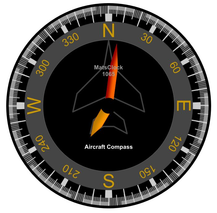 MatsClock - Aircraft Compass Clock