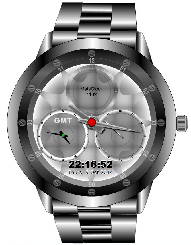 Wrist Watch GMT Time Clock